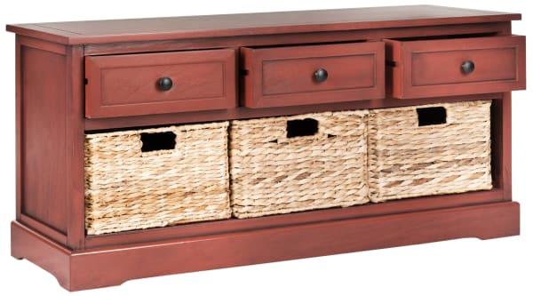Red Wyatt Three Drawer Storage Bench