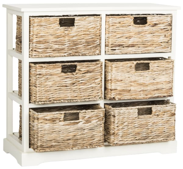 Brayden Antique White 6-Basket Storage Chest