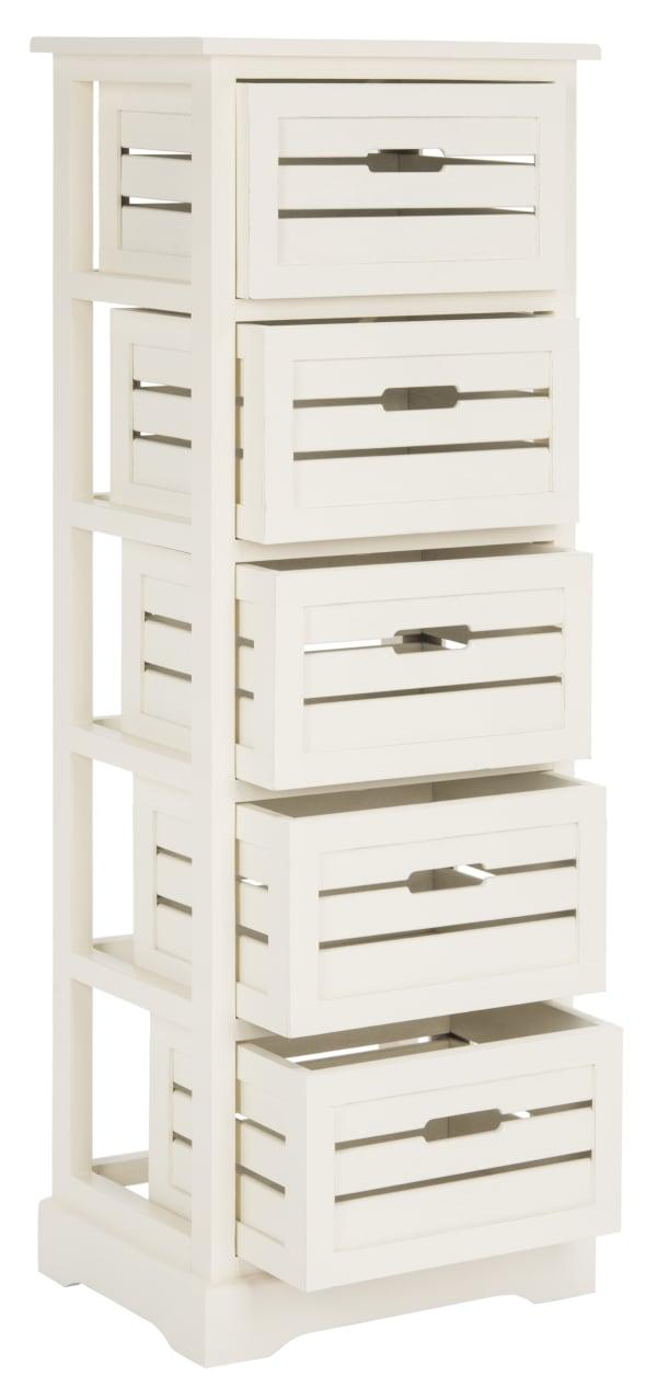 Lilian 5 Drawer White Storage Cabinet