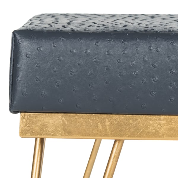 Joan Navy Faux Ostrich Square Bench