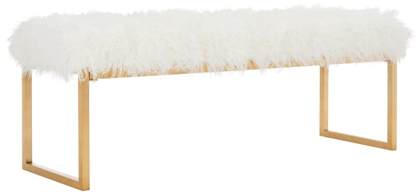 Lucinda White Faux Curly Sheepskin Bench