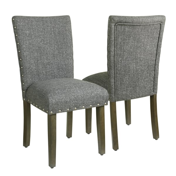 Gray  Dining Chair with Nailhead Trim Set of 2
