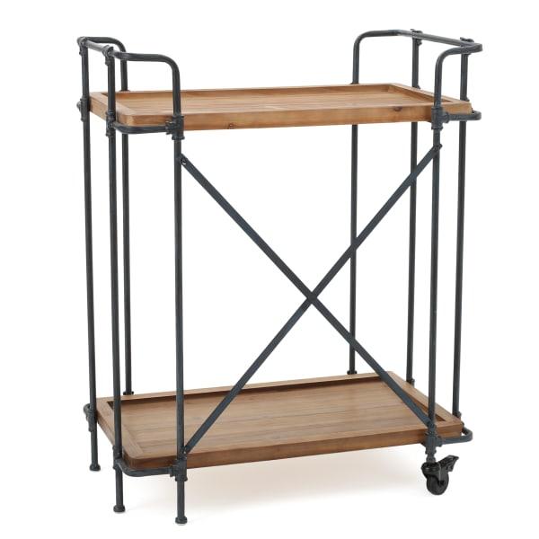 Beacon Outdoor Antique Finish Firwood & Iron Bar Cart