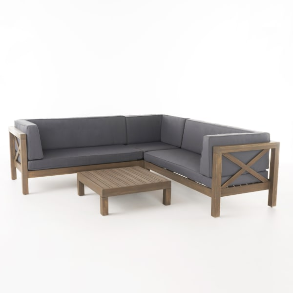 4-Piece Wooden Sectional Set with Gray Cushions