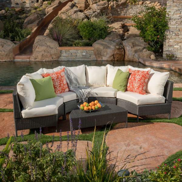5-Piece Gray Wicker Sofa Set with White Cushions