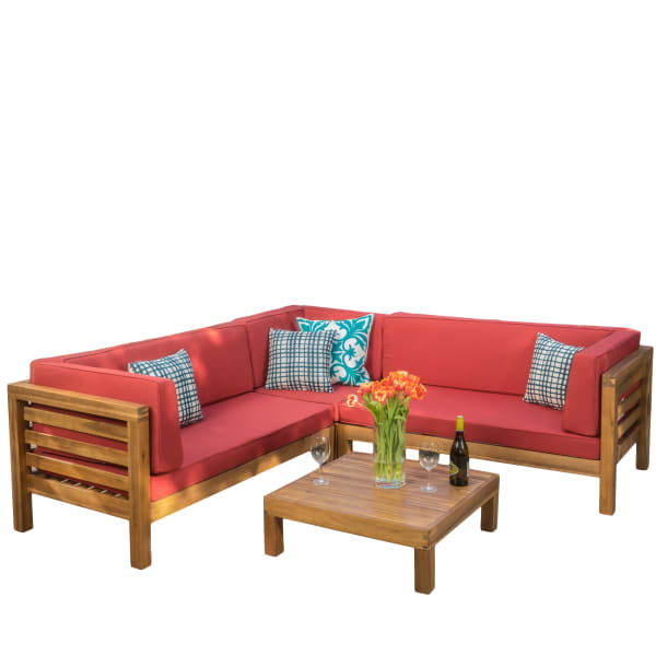 4 Piece Outdoor Sectional Set With Red, Pier 1 Outdoor Furniture Cushions