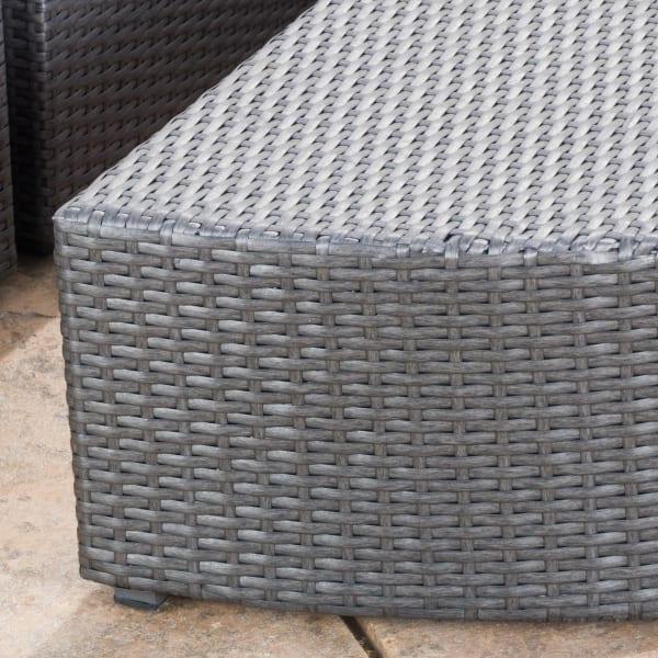 7-Piece Gray Wicker Sofa Set with White Cushions