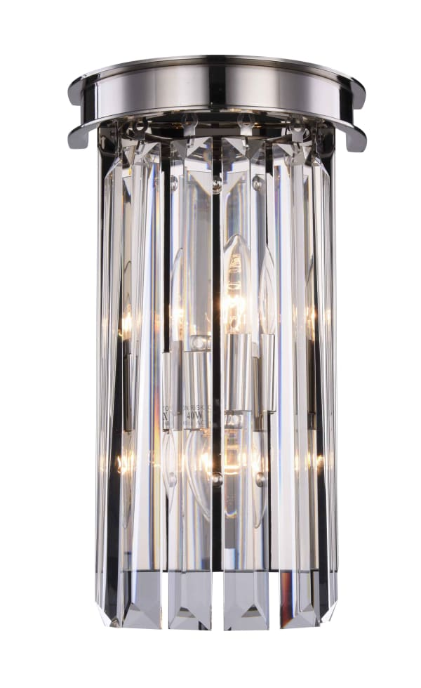 Polished Nickel Wall Sconce with Crystals