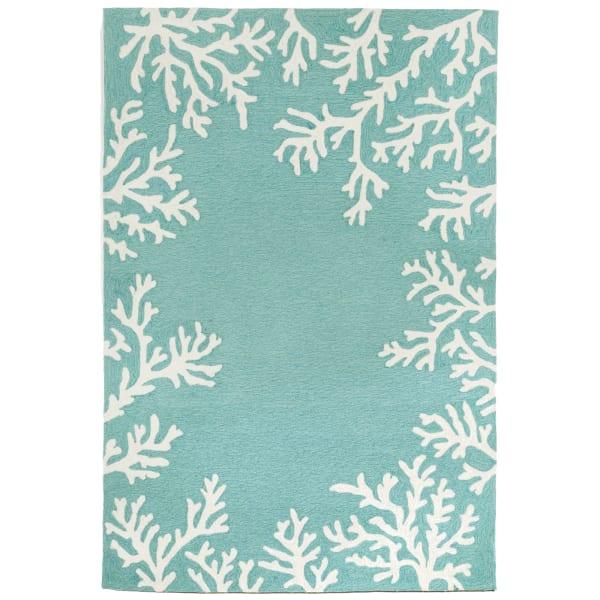 Coral Border Light Blue  5' x 8' Rug