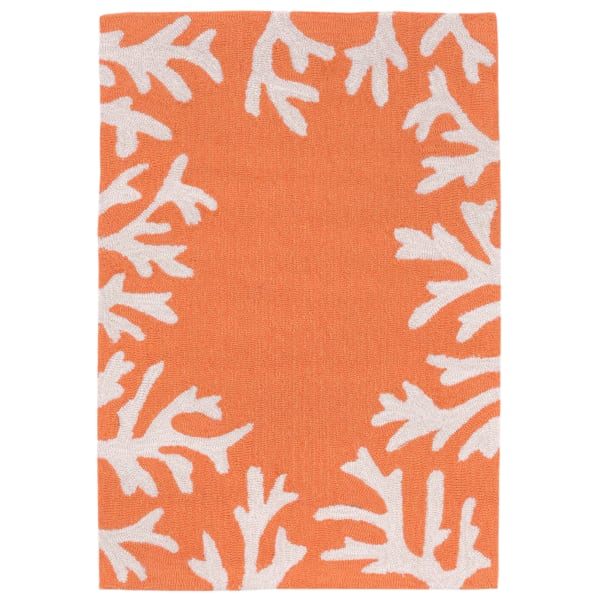 Coral Border Orange  2' x 3' Rug