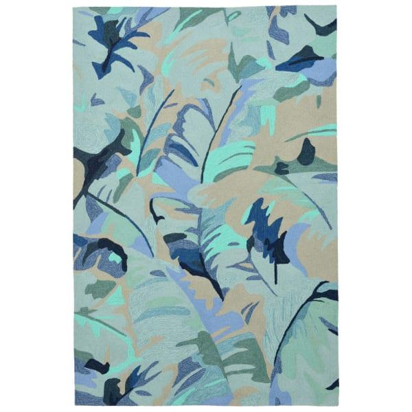 Blue Palm Leaf 5' x 8' Rug