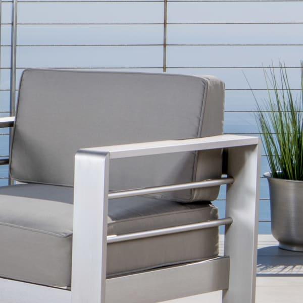 Outdoor Khaki Set with Dark Gray Fire Table
