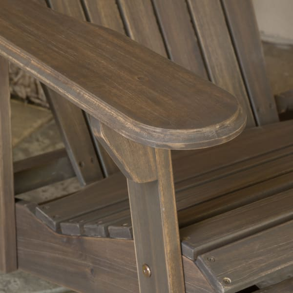 Hayden Gray Reclining Wood Adirondack Chair with Footrest