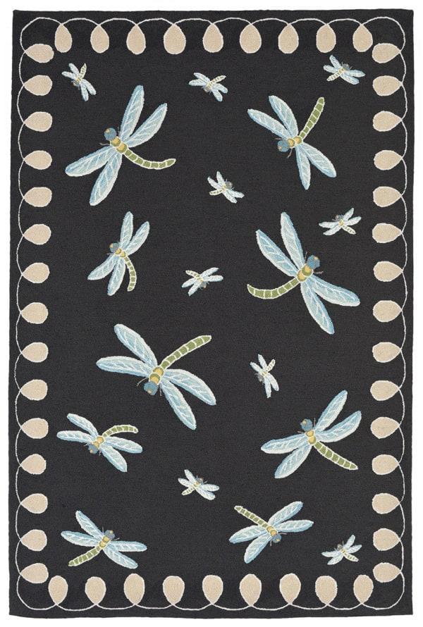 Dragonfly Black 5' x 8' Rug