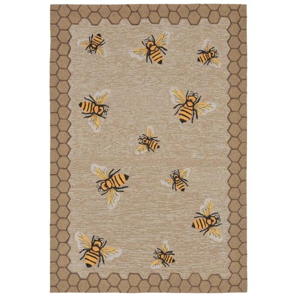 Honeycomb Bee Natural  3' x 5' Rug