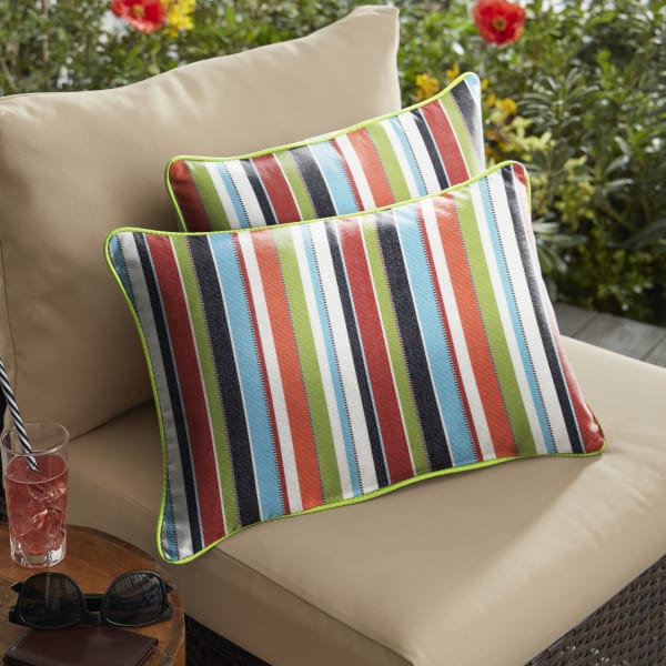 Sunbrella Corded in Carousel Confetti with Canvas Macaw Set of 2 Outdoor Pillow