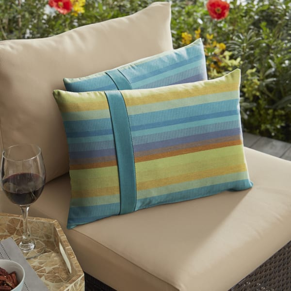 Sunbrella Large Flange Set in Stripe and Peacock Outdoor Pillow
