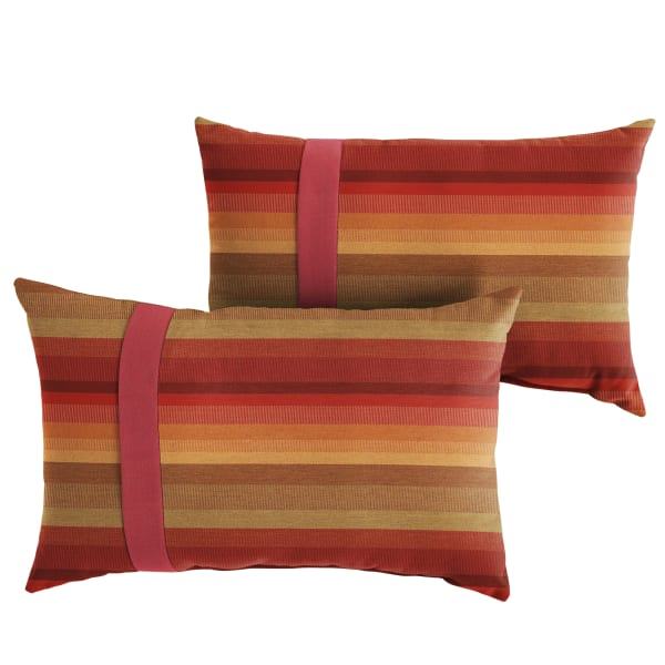 Sunbrella Dual Flange Set in Stripe and Crimson Outdoor Pillow