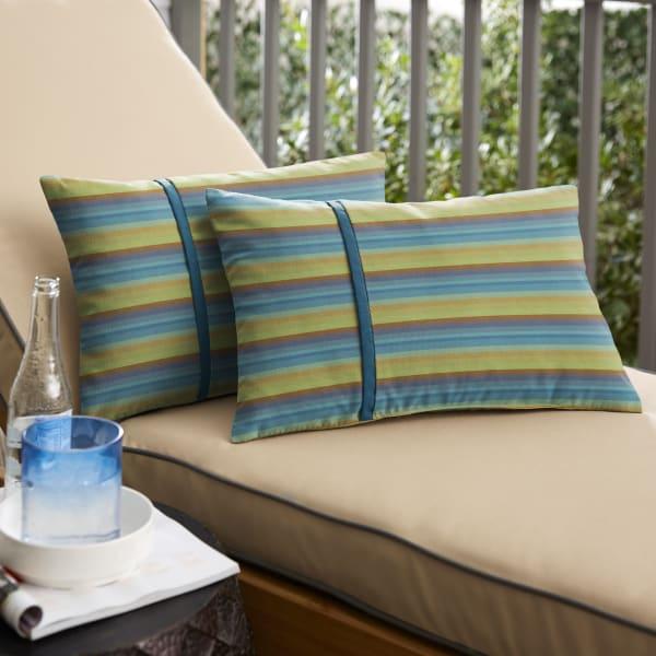Sunbrella Flange Small in Astoria Lagoon Stripe with Spectrum Peacock Outdoor Pillow
