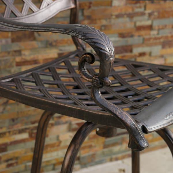 Cast Aluminum Copper Bar Stool Set of 2