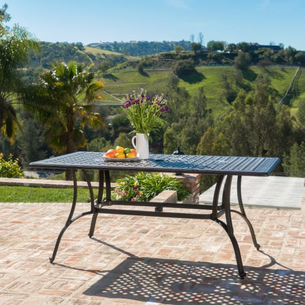 Bronze Cast Aluminum Rectangular Dining Table