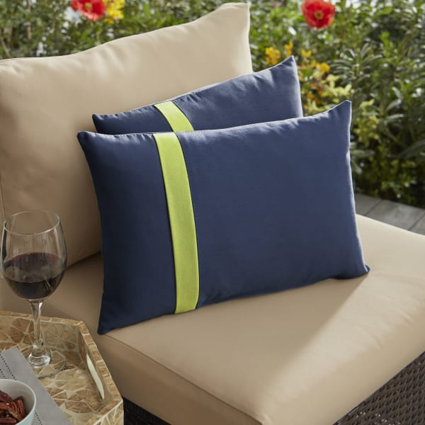 Sunbrella Flange Set Large in Canvas Navy with Canvas Macaw Outdoor Pillow
