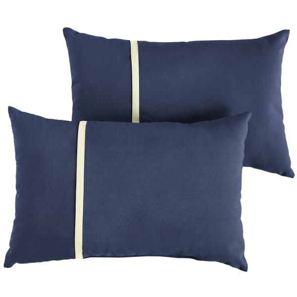 Sunbrella Flange Small Set of 2 in Canvas Navy with Canvas Natural Outdoor Pillow