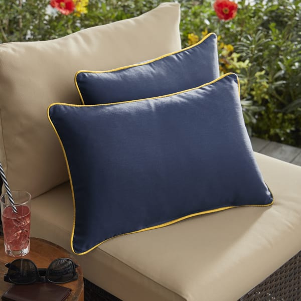 Sunbrella Corded Set of 2 in Canvas Navy with Canvas Sunflower Yellow Outdoor Pillow