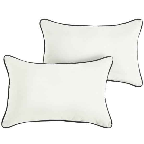 Sunbrella Corded Set of 2 in Canvas Natural with Canvas Black Outdoor Pillow