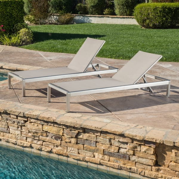 Gray Mesh Chaise Lounge Set of 2