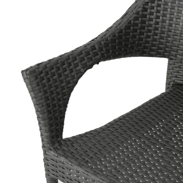 Gray Wicker Stacking Chair 3-Piece Chat Set