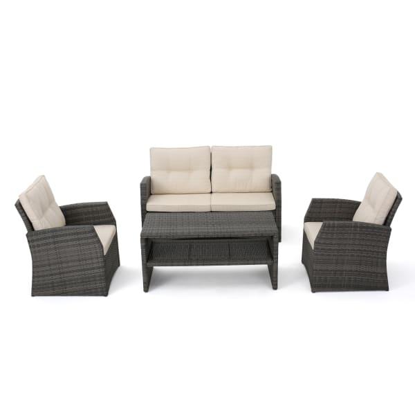 Cream & Black 4-Piece Seating Set