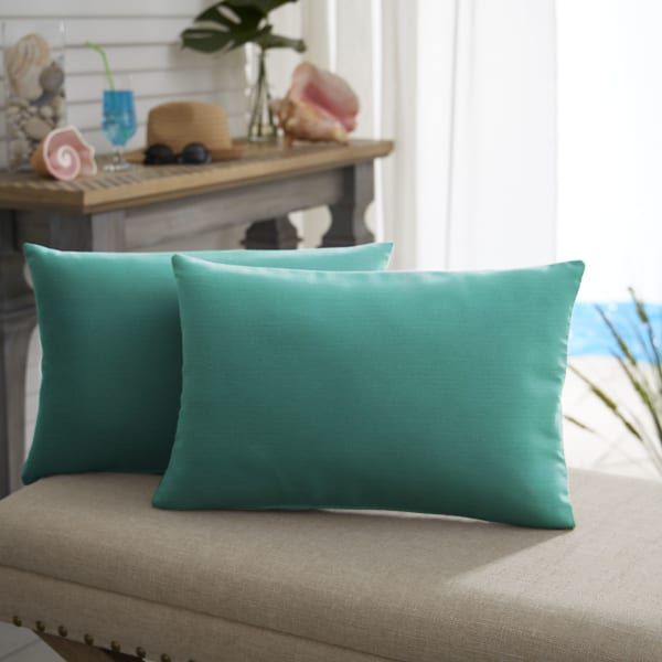 Sunbrella Knife Edge Set of 2 in Canvas Teal Outdoor Pillow