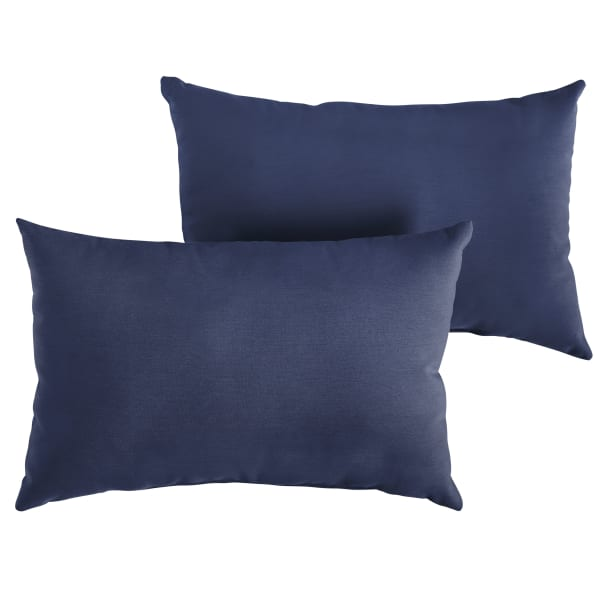Sunbrella Knife Edge Set of 2 in Canvas Navy Outdoor Pillow