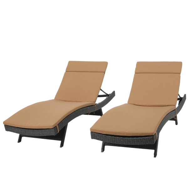 Gray Chaise Lounge with Caramel Cushion Set of 2