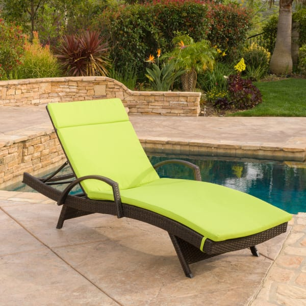 Chaise Lounge with Arms & Green Cushion