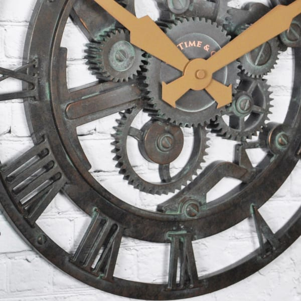 Oxidized Gears Metallic Teal Wall Clock