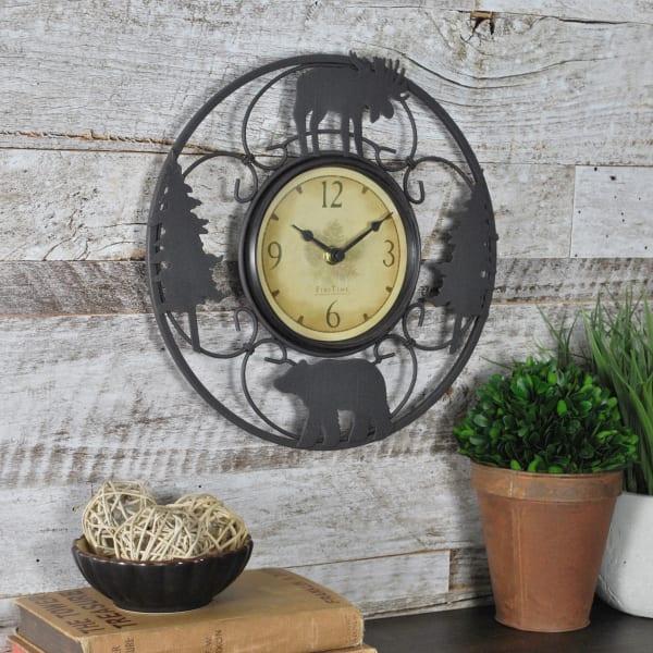 Wildlife Brown & Black Iron Wall Clock