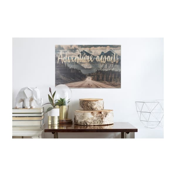Adventure Awaits Mountains Wooden Planked Wall Art