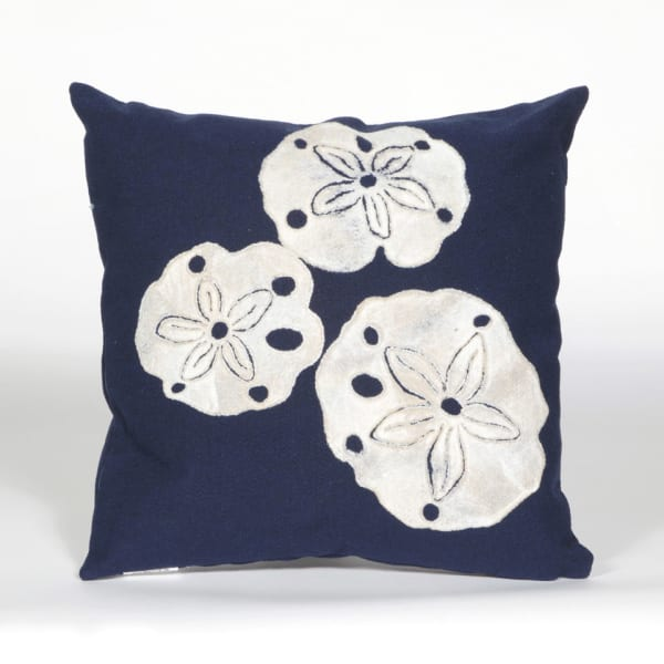 Sand Dollar in Navy Polyester Outdoor Pillow