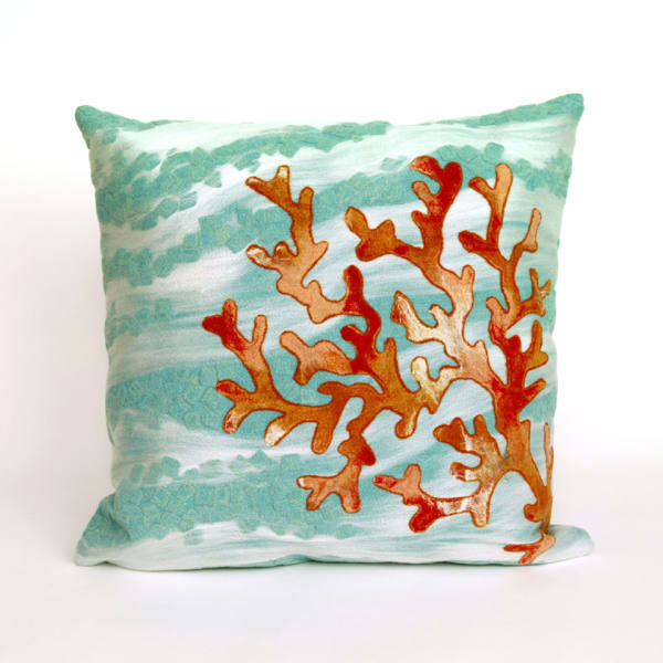 Coral Wave in Blue Polyester  Pillow
