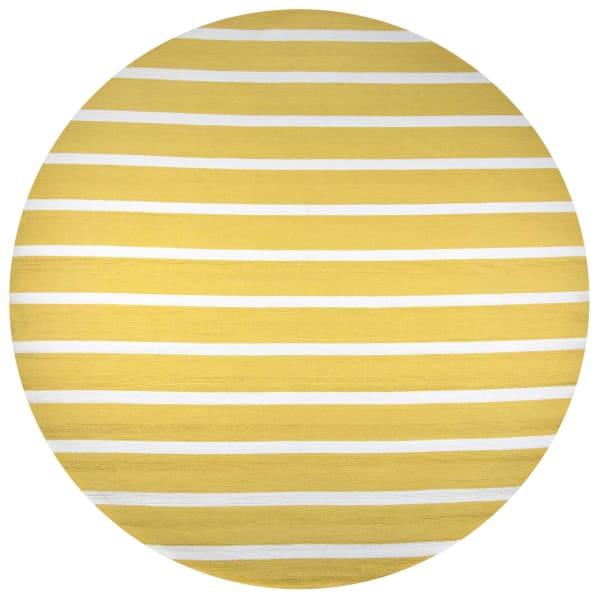 Striped Gold Round Rug 8'