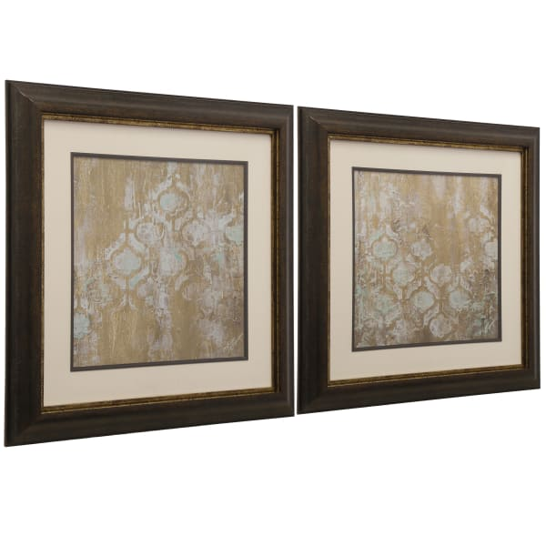 Gold Abstract Framed Print 2-Piece Set