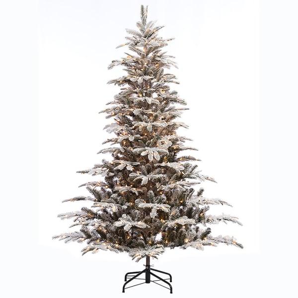 7.5' Pre-Lit Flocked Aspen Fir Artificial Christmas Tree