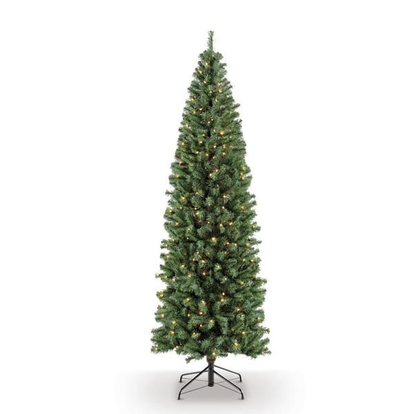 7.5' Pre-Lit Pencil Northern Fir Artificial Christmas Tree