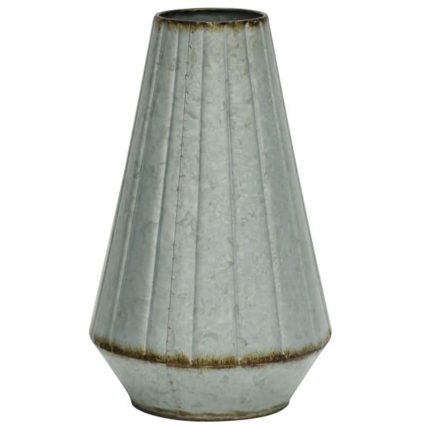 Faceted Gray Metal Vase