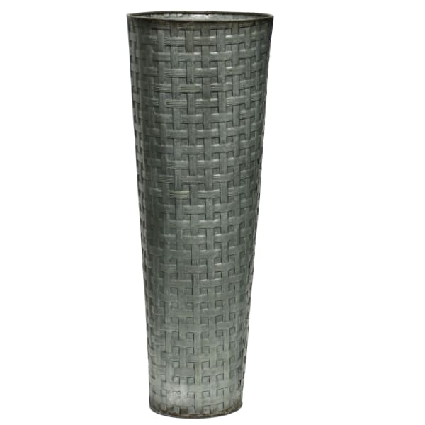 Weave Patterned Gray Metal Vase