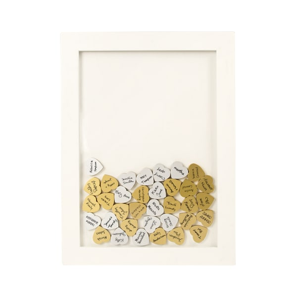 Cathy's Concepts White Floral Heart Drop Guestbook