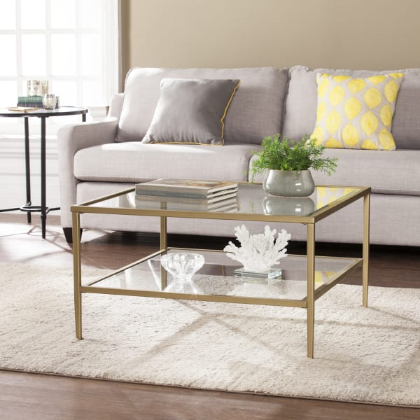 Gold Metal Glass Coffee Table — Pier 1