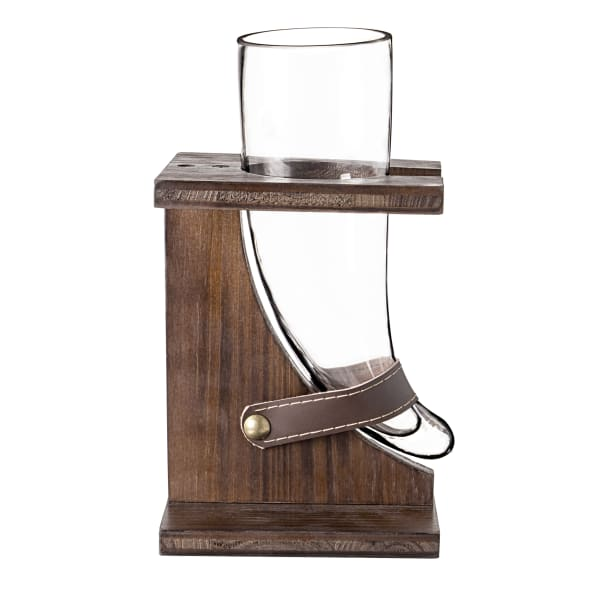 Cathy's Concepts Glass Viking Beer Horn with Rustic Stand